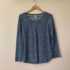 Faded Glory Long Sleeves Top Large Blue & White